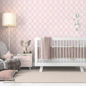 Papel De Parede Adesivo Rosa Quarto De Bebê Menina Amanda