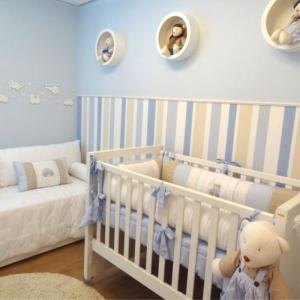 Papel De Parede Adesivo Infantil Azul Listras Mágicas
