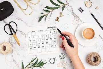 metas, renovação, calendário, mesa, 2021, janeiro, january, café, escritório.