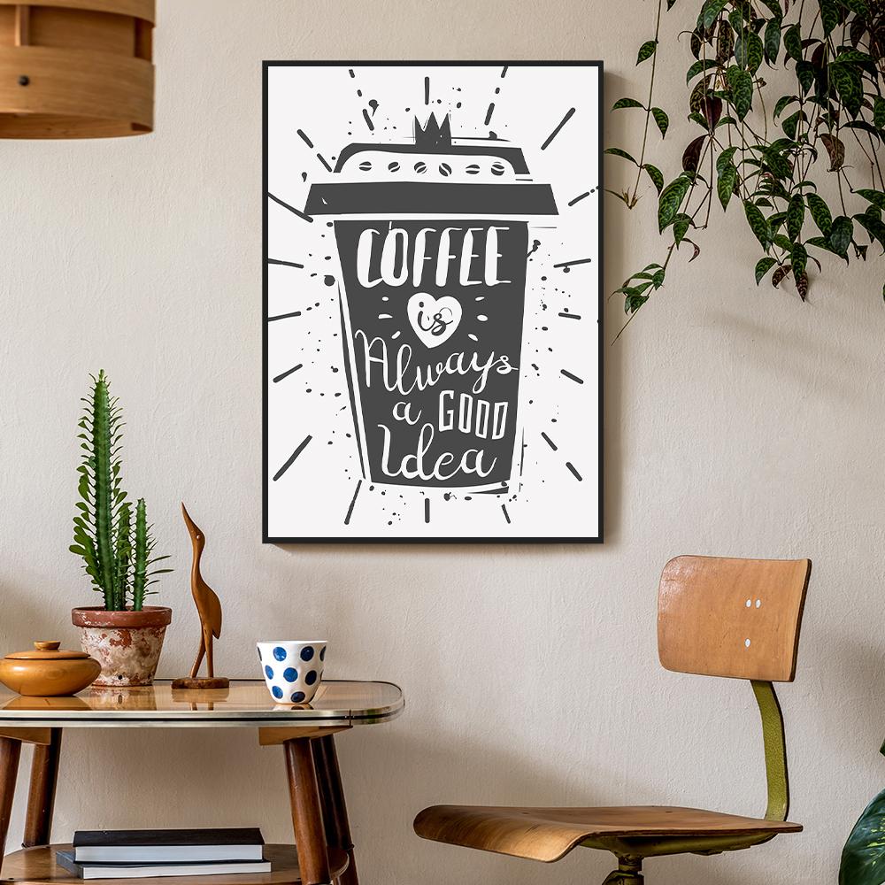 inspiração-cantinho-do-café-quadro decorativo-Defacile-Quadro Coffee is always a good idea