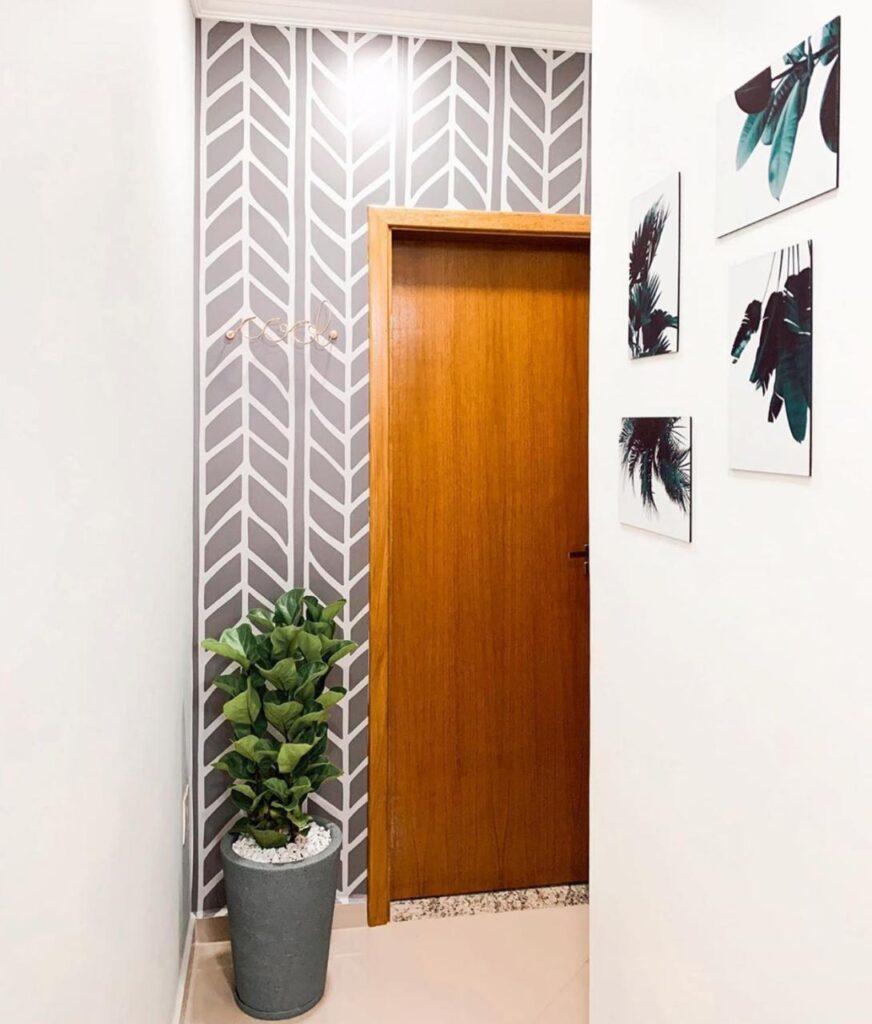 decoracao-do-corredor-papel-de-parede-quadros-chevron-papel-adesivo-diy