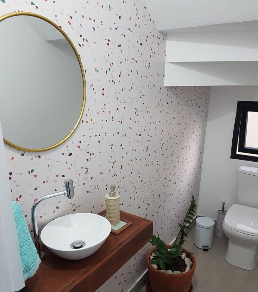 Banheiro-papel de parede-Defacile-lavabo-transformação-decoração-Granilite
