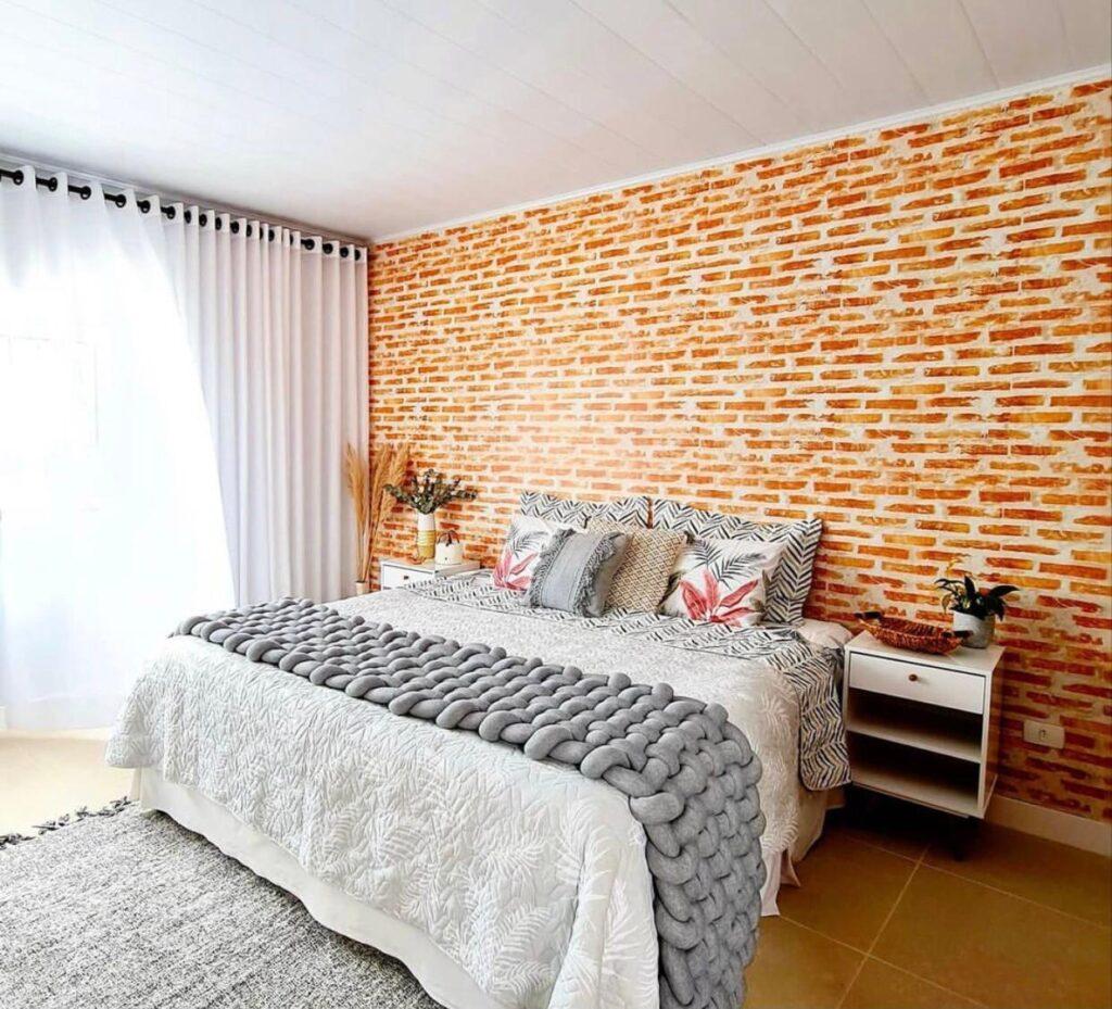 Papel De Parede Tijolo Patinado Banheiro Dos Sonhos-quarto de casal-Defacile-papel-de-parede-para-quarto-de-casal