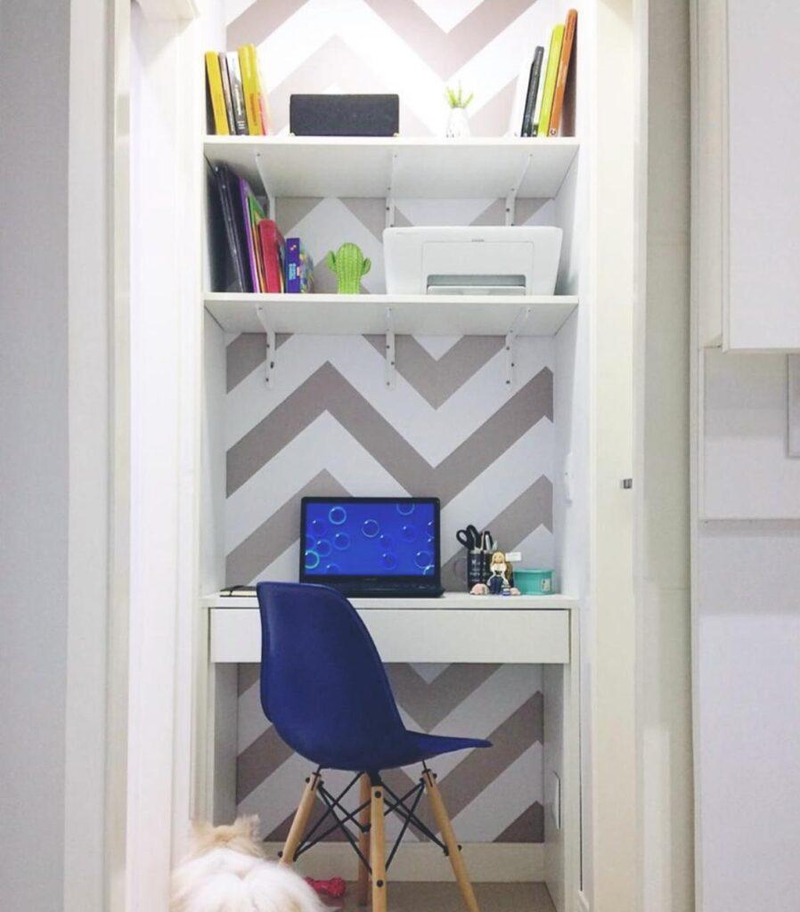 Papel de parede-Decoração Home office-escritório-papel adesivo-Defacile-vibe-conforto-papel Chevron-decorar home office