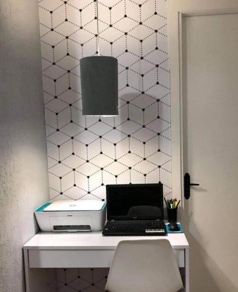 Papel de parede-Decoração Home office-escritório-papel adesivo-Defacile-vibe-conforto-papel geométrico-decorar home office