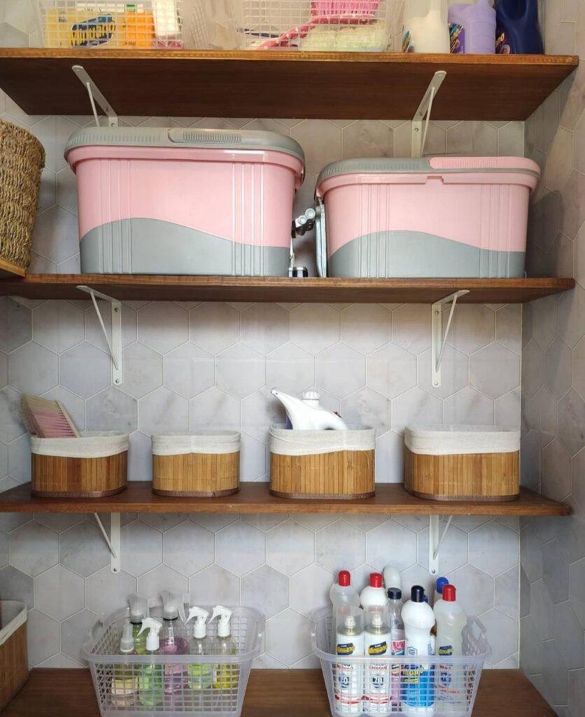 Papel de Parede-Defacile-Lavanderia-Como decorar lavanderia-Papel geométrico-Papel autocolante-Azulejo Adesivo