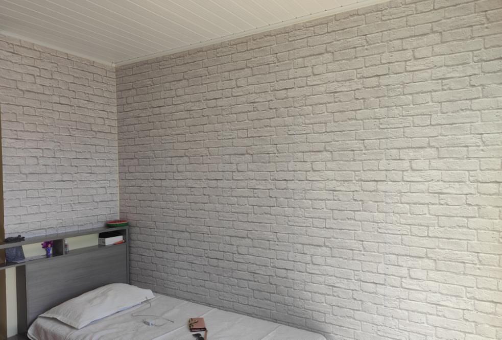 Papel de Parede para Quarto de Casal, papel de parede para quarto de casal, Defacile, adesivo, tijolinho