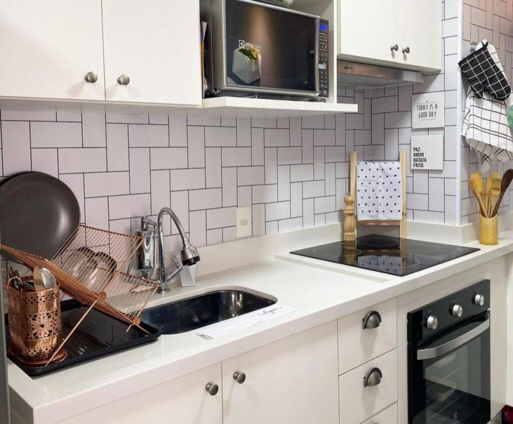 Papel de parede, Metro White, Defacile, lavável, Papel de parede lavável, água, cozinha, fogão