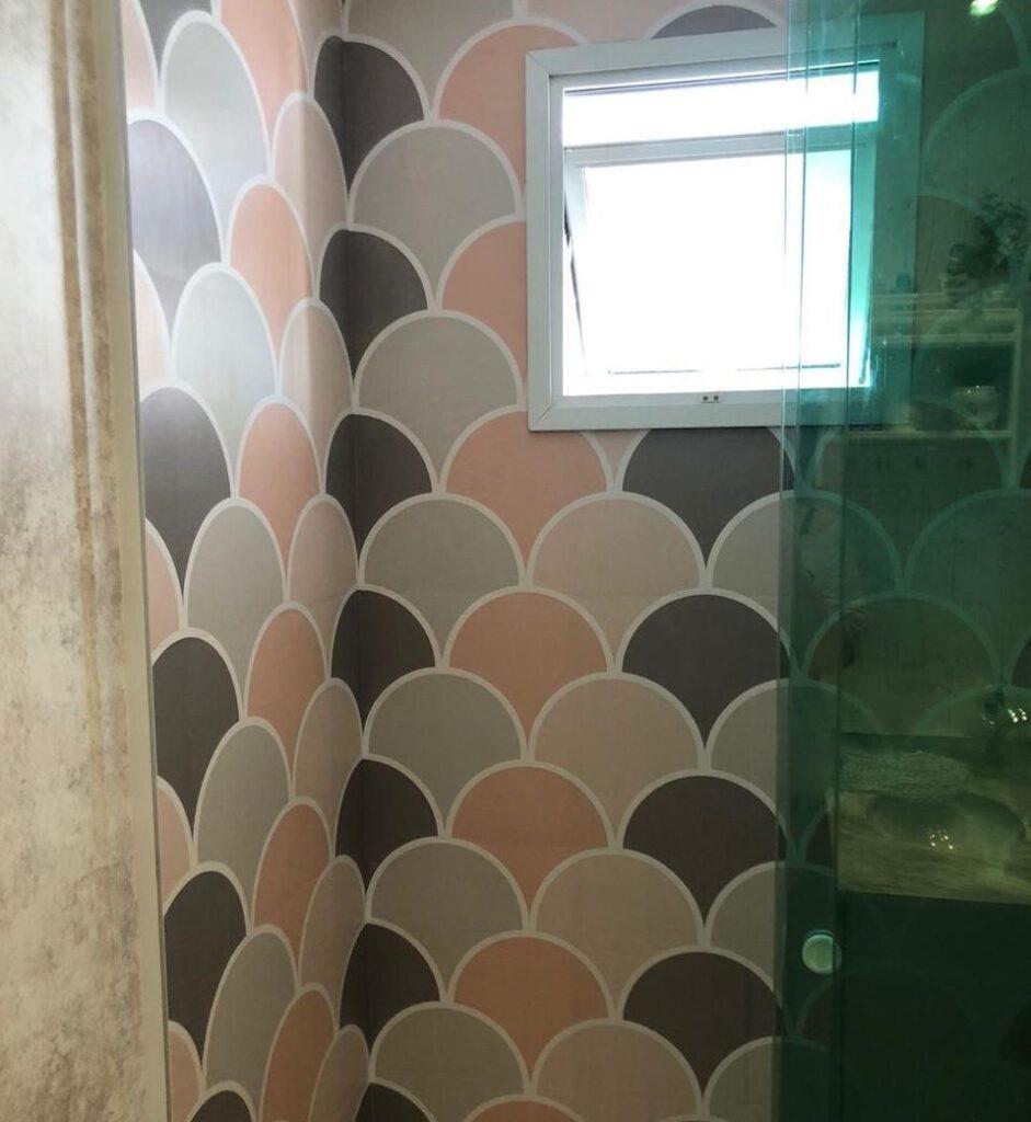 Papel de Parede, Defacile, transformação, decoração, banheiro, Papel de parede geométrico.