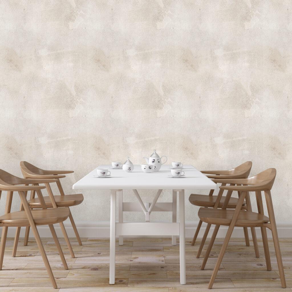 Papel de Parede Defacile Cimento Queimado Mariana aplicado na sala de jantar, Decoração retrô.